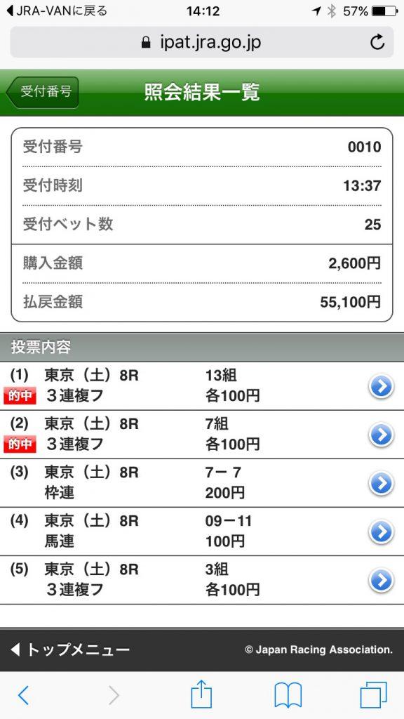 東京ジャンプステークスの的中画像