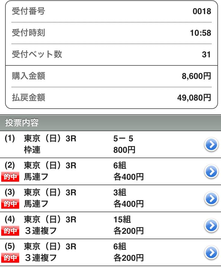 161106東京3レース的中画像